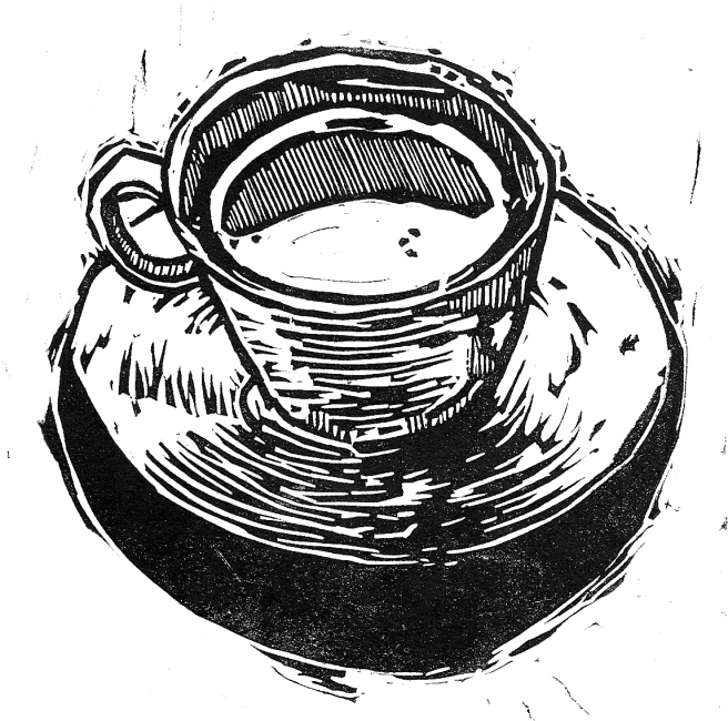 Coffee Cup Lino Cut